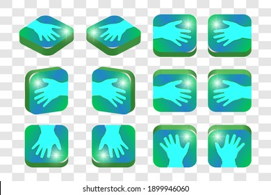 3d isometric set of square icons. Human hand with spread fingers and bright highlights. EPS10 - Shutterstock ID 1899946060