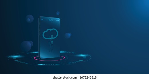 3d isometric smart phone. New mobile communication technology. IOT Internet of things and connection concept.Isometric vector illustration.