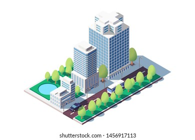 3d isometric square ground complex of administrative buildings. Concept public area near building, house and car, municipal support. Low Poly. Vector illustration.