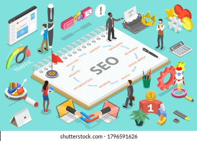 3D Isometric Vector Conceptual Illustration of Search Engine Optimization Steps as following Website, Analysis, Content, Backlinks, Keywords, Social Media, Traffic, Ranking, Optimization.