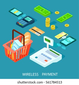3D isometric vector illustration of mobile wireless payment. Wireless technology concept