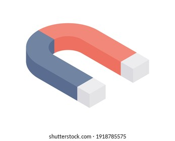 3d isometric vector illustration of red and blue colored horseshoe magnet for designs with education and science concept isolated on white background