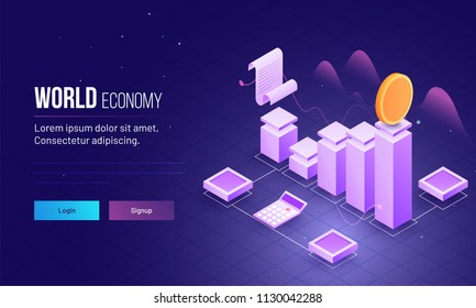 3D isometric view of bar graph, document and calculator to calculate increase or decrease for world economy concept based responsive landing page design.