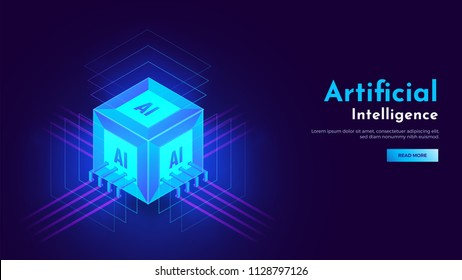 3D isometric view of cubic shape AI processor chip with glowing ultra rays for Artificial Intelligence landing page concept.