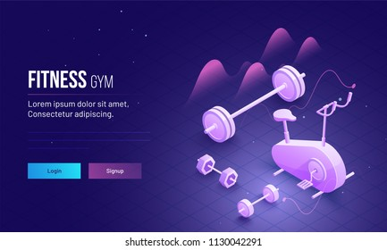 3D isometric view of gym equipments for Fitness Gym concept based landing page design.
