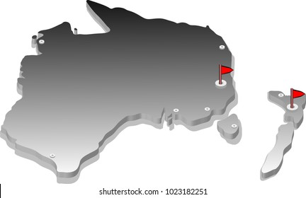3d isometric view map of Australia with gradient and cities. Isolated, white background