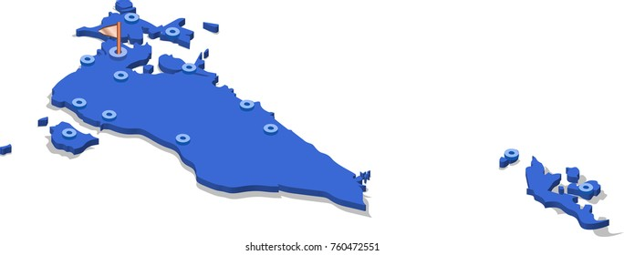 3d isometric view map of Bahrain with blue surface and cities. Isolated, white background
