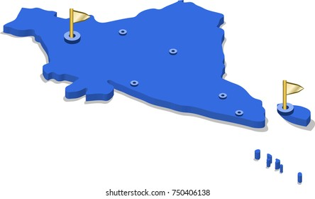 3d isometric view map of India with blue surface and cities. Isolated, white background