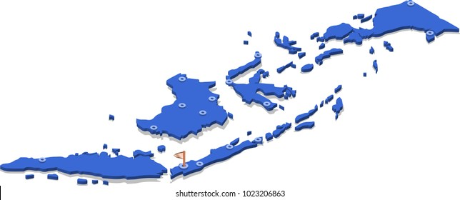 3d isometric view map of Indonesia with blue surface and cities. Isolated, white background