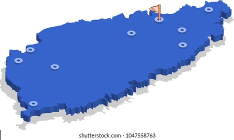 3d isometric view map of Saint Lucia with blue surface and cities. Isolated, white background