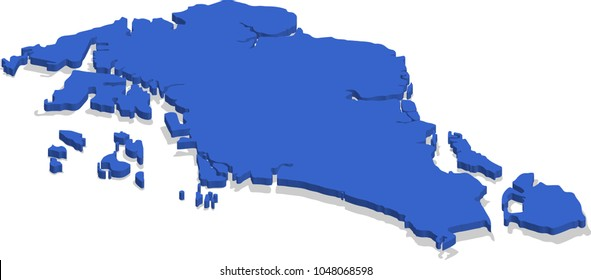 3d isometric view map of Singapore with blue surface and cities. Isolated, white background