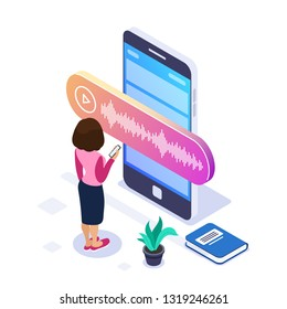 3d Isometric voice message concept. Person records or listens to a voice message using a large phone. Books and plant as background. Can use for web banner, infographics, hero images. Isolated.