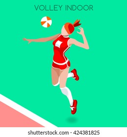 3D Isometric Volleyball Sport female Player Sportswoman Icon Set. 3D Isometric Indoor Volleyball Team. Player Volley Match Competition. Sport Infographic event Volley Vector Active People Collection