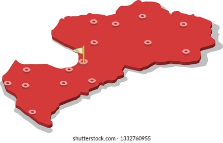 3d isometric volume view map of Latvia with red surface and cities, capital. Isolated, white background