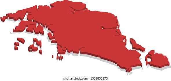 3d isometric volume view map of Singapore with red surface and cities, capital. Isolated, white background