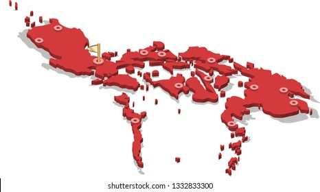 3d isometric volume view map of Philippines with red surface and cities, capital. Isolated, white background