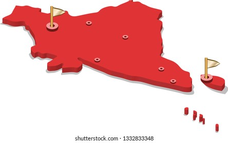 3d isometric volume view map of India with red surface and cities, capital. Isolated, white background