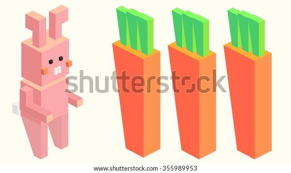 3d Isometric Voxel Pixel Art Comic Stock Vector (Royalty