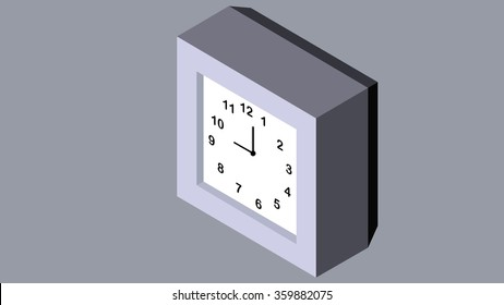 3d isometric voxel pixel low poly art square alarm time clock. Isolated technology mechanical object, element, sign, symbol, numbers and icon. Minutes and hours display counter, pointer, indicator.