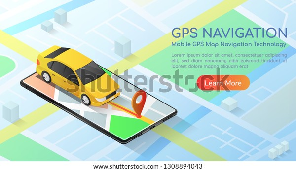 3d Isometric Web Banner Car Gps   Royalty-Free Stock Image
