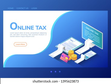 3d isometric web banner online tax payment on computer smartphone and digital tablet. Online tax payment service landing page concept.