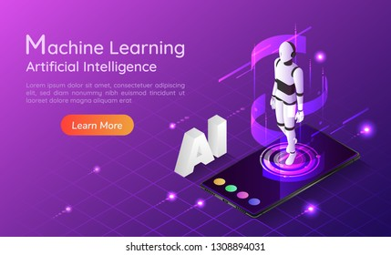 3d isometric web banner personal assistant AI robot on smartphone. Artificial intelligence and machine learning concept landing page.
