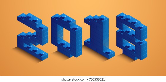 3d izometric number of new year. 3d izometric number 2018 from constructor bricks