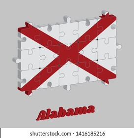 3D Jigsaw puzzle of Alabama flag in Red St. Andrew's saltire in a field of white. The states of America, Concept of Fulfillment or perfection.