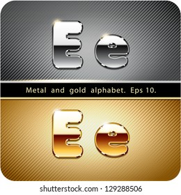 """3d Joyful set of chrome metal and gold vector alphabet. The letter """"E"""".Eps 10. The rest of uppercase and lowercase letters, symbols and numbers of the alphabet in my portfolio."""