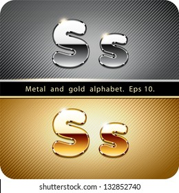 "3d Joyful set of chrome metal and gold vector alphabet. The letter ""S"".Eps 10. The rest of uppercase and lowercase letters, symbols and numbers of the alphabet in my portfolio."