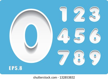 3d Joyful set of cut paper vector numbers on blue background, from 1 to 0. Eps 10.