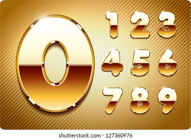 3d Joyful set of gold metal vector numbers, from 1 to 0. Eps 10. The rest of uppercase and lowercase letters, and symbols of the alphabet in my portfolio.