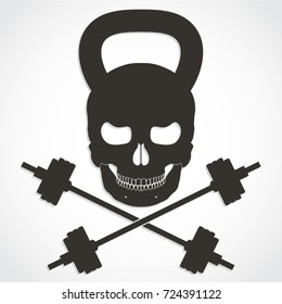 3d kettle bell skull with crossed barbells