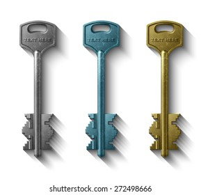 3D key to the door lock, Realistic object clipart, Vector illustration Eps 10