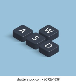 3D keyboard buttons WASD. Computer cybersport gaming concept. Isometric vector illustration