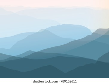 3D landscape Abstract Background. Gradient Vector Illustration. Landscape with Mountain Peaks