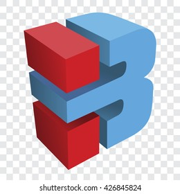 3D letter B vector illustration
