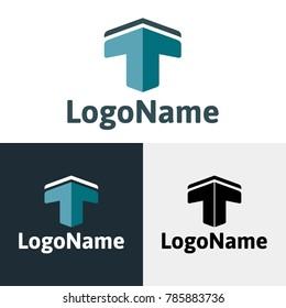 3D letter T or up arrow shape vector logo symbol - standard, inverse and black monochrome version.
