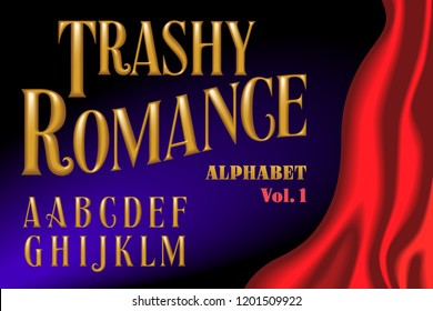 A 3d lettering alphabet in the gold embossed style of cheap paperback romance novels. The complete font is in two matching volumes.