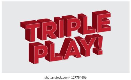 3D Lettering Triple Play