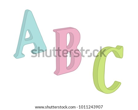 3d letters vector perspective view drawing with color abc uppercase