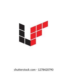 3D LF logo letter design