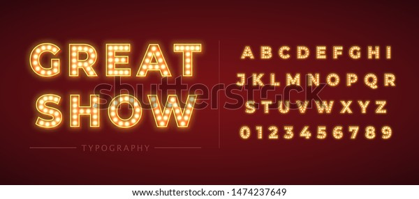 3d light bulb alphabet with red frame isolated on dark red background. Broadway show style retro glowing font. Vector illustration.