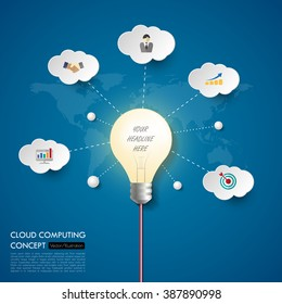 3d light bulb business concept timeline. Infograph template, realistic paper 5 steps infographic, vector banner can be used for workflow layout, diagram,presentation, education or any number option.