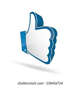 3d like thumb up symbol vector EPS10