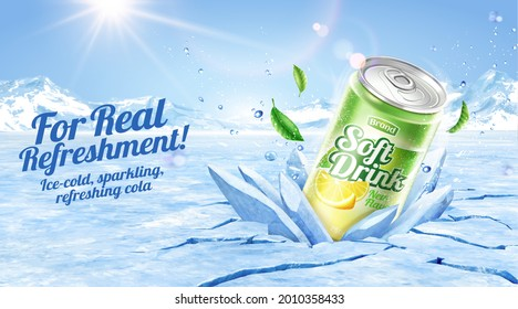 3d lime juice soda ad template. Realistic can crashing frozen ice with glacier background.