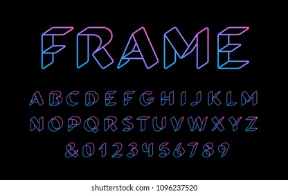 3D linear font. Vector alphabet with latin letters and numbers.