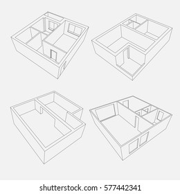 3d linear vector apartment and house plans isolated on grey background for interior, architectural and other designs