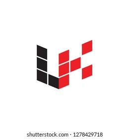 3D LK logo letter design