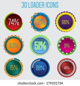 3d loader icon set of 9 with percentage